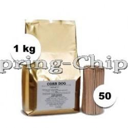 1kg Corn Dog & Zwiebelringe Mix +50 Holzstäbe